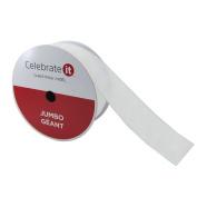 Christmas Ribbon White Iridescent Holiday Jumbo Glitter Ribbon 6.4cm x 30m Woven Wired