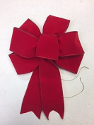 Wired Red Velvet Bow Ribbon Handmade Holiday Bow 8 - 23cm in Diameter - Red Hand Made Bow By Wreaths For Door