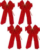 "60cm x 23cm Red Velvet Bow ""Merry Christmas"" With Glitter Snowflake Print"