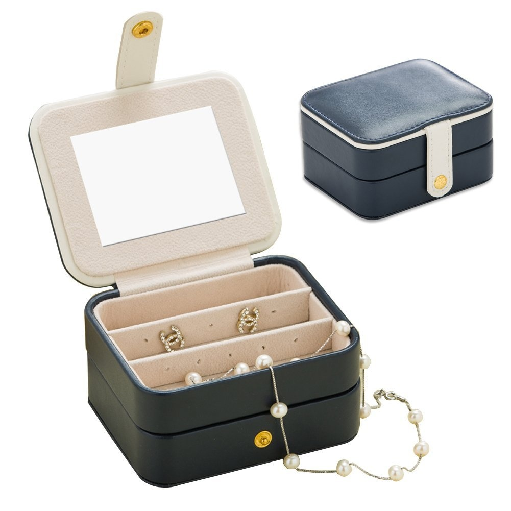 Jewellery Organiser Box Nasion V Travel Portable Jewellery Storage Case Accessories Holder Pouch Bulit In Mirror With Environmental Faux Leather For