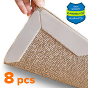 Rug Grippers X-PROTECTOR – Best 8 pcs Anti Curling Rug Gripper. Keeps Your Rug in Place & Makes Corners Flat. Premium Carpet Gripper with Renewable Gripper Tape – Ideal Anti Slip Rug Pad for Your Rugs