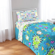 Simply Adorable, Soft and Irresistible Nickelodeon Splat Ren and Stimpy Full Sheet Set, Blue/Multicolor