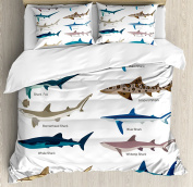 Sea Animal Decor Duvet Cover Set by Ambesonne, Collection Types of Sharks Bronze Whaler and Piked Dogfish Fox Maritime Design, 3 Piece Bedding Set with Pillow Shams, Queen / Full, Multi