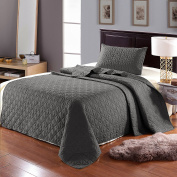 Luxury 2-Piece Reversible Quilt Set with Pillow Sham, as Bedspread/ Coverlet/ Bed Cover, Solid Steel Grey, Twin Size( 170cm x 220cm ) -Soft, Lightweight and Hypoallergenic