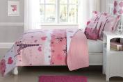 Fancy Linen Bedspread Coverlet Reversible Paris Pink white Purple Hearts Eiffel Tower New # Paris