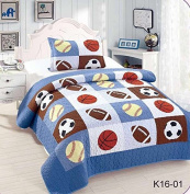 Golden Linens Twin Size Kids Bedspread Quilts for Teens Boys Printed Bedding Coverlet Sport American Football Basketball Baseball Multi colour Light blue, Orange Light Brown #Twin 16-01