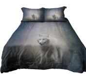 Anoleu Reversible Design Bedding, Wolf in Misty Forest and Roaring Polar Bear Duvet Cover Set