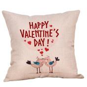 Sothread Valentine's Day Throw PillowCase Decor Linen Creative Square Cushion Cover 46cm