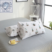 BuLuTu Cotton Cactus Print Bed Pillowcases Set of 2 Queen White Natural Kids Pillow Covers Decorative Standard For Boys Girls Envelope Closure End