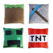 "Kids' Pillowcase Set (4 Covers, 6"" x 6""), Mining Pillow Cover Design, Minecraft and Video Game Inspired, Room Decoration, Fun Christmas or Birthday Gift"