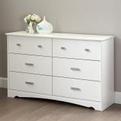 South Shore Tiara 6-Drawer Double Dresser, Pure White