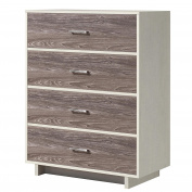 Ameriwood Home Colebrook 4 Drawer Dresser, Vintage White/Rustic