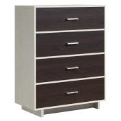 Ameriwood Home Colebrook 4 Drawer Dresser, Vintage White/Espresso