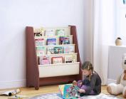UTEX Kids Sling Bookshelf, Magazine Rack - Book Rack For Kids And Book Organiser for Adults, Mahogany