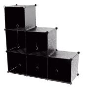 Storage Cube Organiser Plastic 6-Cube DIY Modular Storage Cabinet Portable 3-Tier Bookcase Shelf Closet, Black with Wood Hammer