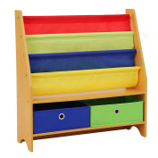 SONGMICS Children's Bookcase Rack Sling Book Shelf Toy Storage Organiser with 2 Fabric Bins and 3-Tier Book Shelf Multicolor UGKR42Y