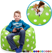 "Stuffed Animal Storage Bean Bag Chair in Chartreuse with White Polka Dots. FILL IT, ZIP IT AND SIT IN IT! Clean Up the Room in Style AND Get Yourself a Premium 95"" Bean Bag Chair For Free!"