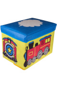 Choo Choo Train Collapsible Storage Organiser by Clever Creations | Blue, Red, & Yellow Folding Storage Ottoman for Bedroom | Perfect Size Box for Books, Clothes, Electronics, and Gadgets