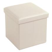 SONGMICS Faux Leather Folding Storage Ottoman Cube Foot Rest Stool Seat 38cm x 38cm x 38cm Beige ULSF10M