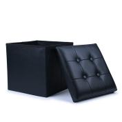 WoneNice Folding Storage Ottoman Cube Foot Rest Stool Seat