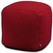 Crocheted/Knitted Ottoman Pouffe - Red (100% Cotton, Handmade, Square, Beautiful, Soft and Lightweight, Available in Four Colours) | by Urban Legacy
