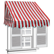 ALEKO 2.4m x 0.6m Window Awning Door Canopy, Red and White Stripes
