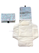 Portable Nappy Changing Mat - UNICORN design - Folding - Light Weight and Wipe Clean - Baby Changing - Soft Pillow - Zipped Pockets