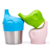 BBBiteMe Baby Sippy Cup Lids and stainless steel cup- Elephant Kid's Spill Proof Universal Silicone Sippy lids Make any Cup to be Sippy cup
