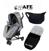 iSafe Visual 3 Stroller GREY - Complete With Footmuff, Raincover & Changing Bag