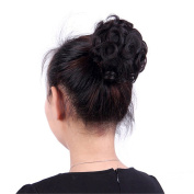 Remeehi Human Hair Clip on/in Messy Hair Bun Extension Hair Chignons Donut Hair Piece Wig Curly Natural Colour