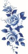 Grashine new design temporary tattoo stickers Beautiful dark blue and white roses waterproof and non toxic fake temp tattoo sticker