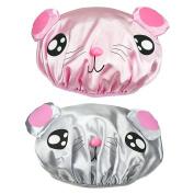 PrettyDate 2 Packs Novelty Cartoon Double layer Shower Cap Waterproof Elastic Bath Cap for kids(Pink, Grey)