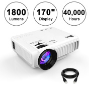 DR.Q 1800 Lumens Projector, 10cm Mini LCD Projector with 430cm Display, 40000 Hours, 1080P Video Projector, HDMI USB SD VGA AV for Multimedia Home Theatre, with HDMI and AV Cable, White.