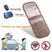 MONOJOY Keyless Car Key Signal Blocker Pouch, Harris Tweed Surface RFID Signal Blocking Faraday Bag Cage Universal for All Brand Type of Car Keys Fob