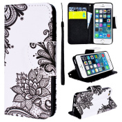 Phone Case for Apple iPhone 5 5S SE SmartLegend iPhone 5S Flip Case iPhone 5 Full Body PU Leather Protective Case Wallet Folio Stand Cover Creative Pattern Designer Card Slots Magnetic Closure Soft TPU Silicone Back Cover, Rose