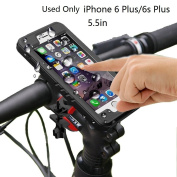 Bike Phone Mount,Moto Mount Holder,Bike Mount Holder with IP68 iPhone Waterproof Case Motorcycle Bicycle for iPhone 6 Plus(14cm ) 360 Degree Rotation Touch Screen Fingerprint identification