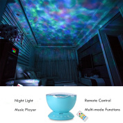 Kids Room Ocean Wave Projector Remote Control Colourful Night Light Colour Changing Under Sea Water Wave Led Lamp Projection For Kids Bedroom With Music And Remote