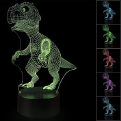 3D Illusion Dinosaur Night Light Lamp with 7 Colour change, touch base, power by AA batteries