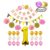 1st Birthday Girl Decorations, Pink and Gold party supplies for Baby's First Birthday, Pink Happy Birthday Banner, Triangle Flag, Balloon, Pom Poms and Party Swirls by Litaus
