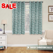 Country Aqua Floral Print Blackout Curtain for Bedroom - Thermal Insulated Ultimate Soft Textured Grommet Window Treatment Panel for Living Room, 130cm W x 160cm L - 1 Panel