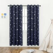 Navy Blue Star Print Kids Room Curtains (2 Panels), Anjee Thermal Insulated Blackout Curtains / Thick Window Drapes for Nersery and Game Room, W52 x L84 Inches
