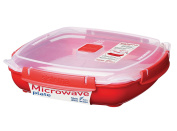 Sistema Microwave Cookware Plate, Large, 1300ml/ 5.5 Cup, Red