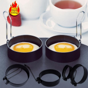 Anshinto 2 PCS Nonstick Stainless Steel Handle Round Egg Rings Shaper Pancakes Moulds Ring Kitchen Tool