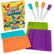 Gummy Bear & Worm Mould, BPA Free Silicone Candy Moulds, Set of 4 Trays & Droppers for 140 Candies