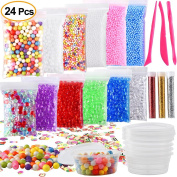 Kuuqa 24 Pack Slime Making Kit Supplies Including Micro Foam Beads Styrofoam Balls Fishbowl Beads Confetti Fruit Slices Slime Tools for DIY Craft
