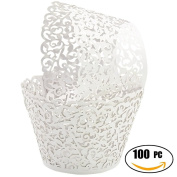 SUYEPER 100pcs Cupcake Wrappers Artistic Bake Cake Paper Cups Little Vine Lace Laser Cut Liner Baking Cup Muffin Case Trays for Wedding Party Birthday Decoration