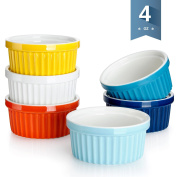 Sweese 5108 Porcelain Souffle Dishes, Ramekins - 120ml for -Souffle, Creme Brulee And Dipping Sauces - Set of 6, Assorted Colours