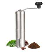 Topnoble Manual Coffee Grinder, 304 Stainless Steel, Lengthened Hand Crank, Adjustable Ceramic Burr, Gift, For French Press Espresso