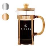 Ritual French Coffee Press, Bamboo Wood, Borosilicate Glass, and Copper Colour Frame, Coffee Maker with Bonus Filter 36oz/1000ml