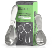 BALCI- Stainless Steel Coffee Scoop Set (1 & 2 Tablespoon, 15ml and 30ml) EXACT Measuring Spoons for Coffee, Tea, Sugar, Flour and More!